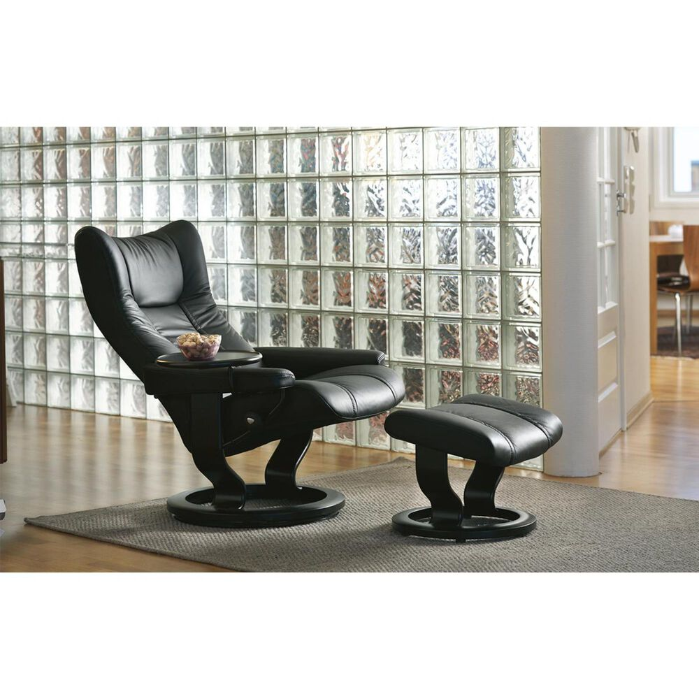 Ekornes Wing Small Chair and Ottoman Paloma Black, , large