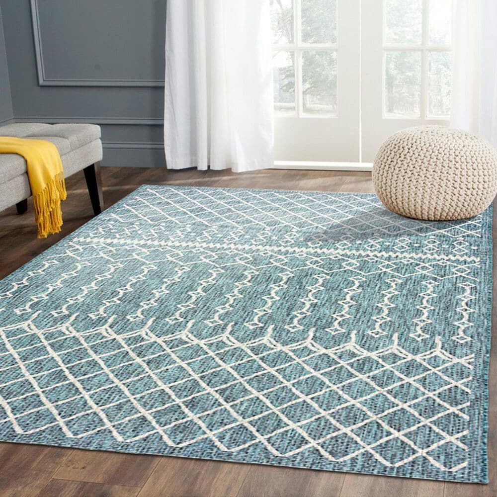 L&R Resources Sun Shower 5' x 8' Blue and Gray Indoor/Outdoor Area Rug, , large