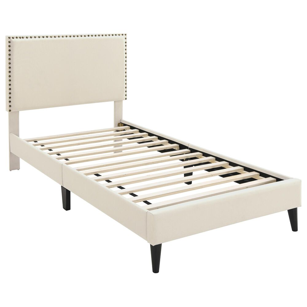 Accentric Approach Twin Platform Bed in Beige, , large