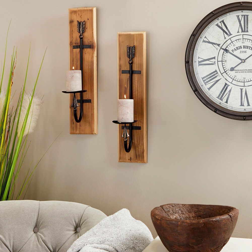 Maple and Jade Industrial Wood Wall Sconce Brown Set of 2, , large