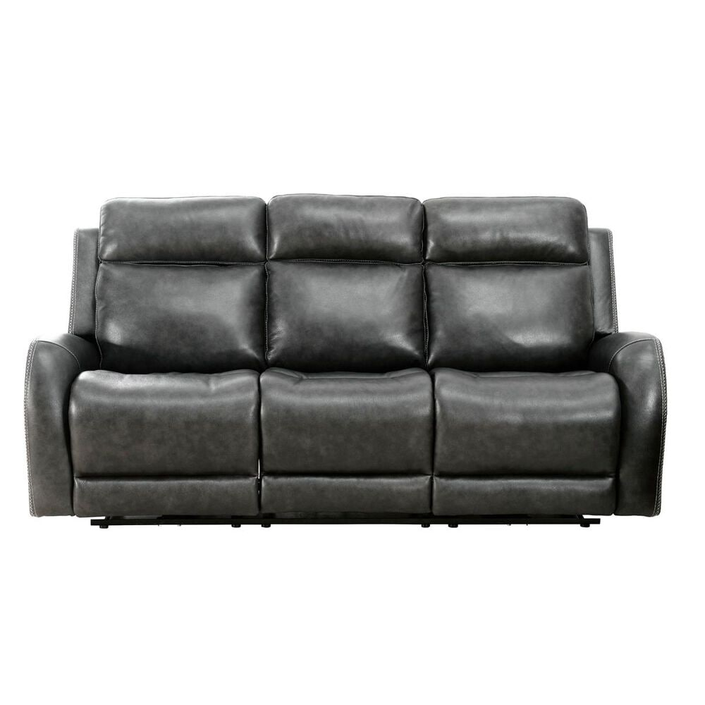 Devon and Claire Itron 3 Power Reclining Leather Sofa in Steel Grey, , large