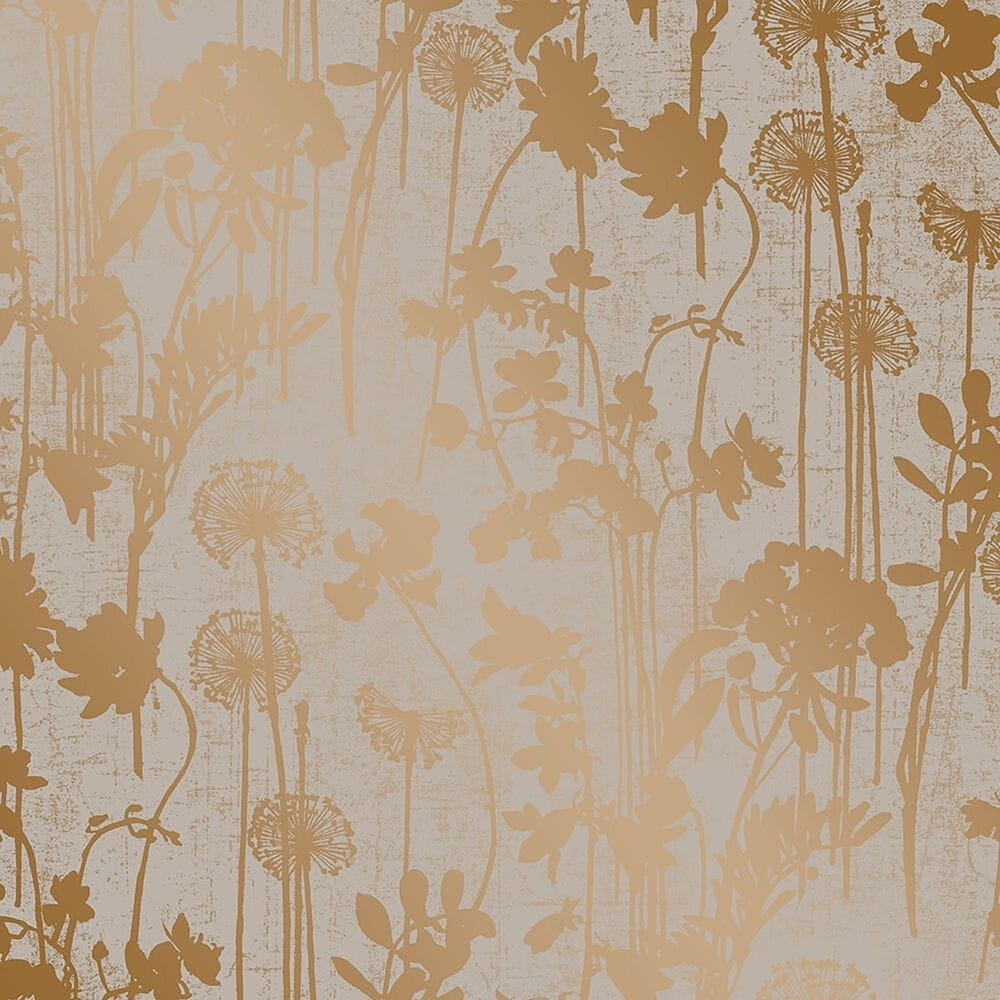 Tempaper Distressed Floral Grey & Metallic Copper Peel and Stick Wallpaper, , large
