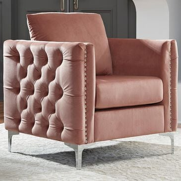 Signature Design by Ashley Lizmont Accent Chair in Blush Pink Velvet, , large