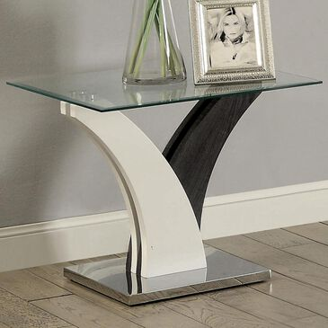 Furniture of America Karin End Table in White, , large