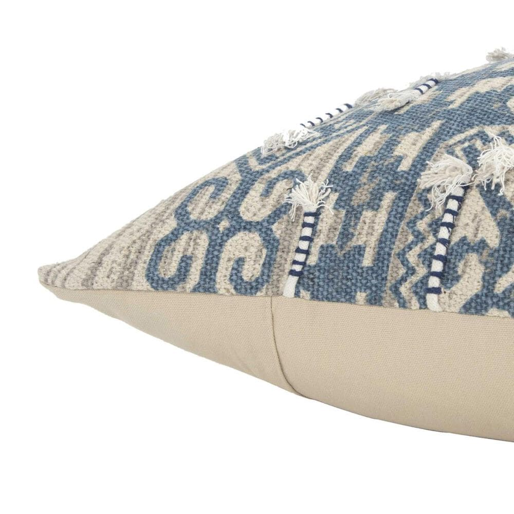 """Rizzy Home 20"""" x 20"""" Poly-Fill Pillow in Blue and Beige, , large"""