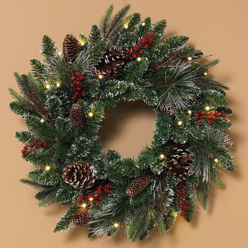 """The Gerson Company 24"""" Frosted Wreath with 25 LED Lights in Green, , large"""