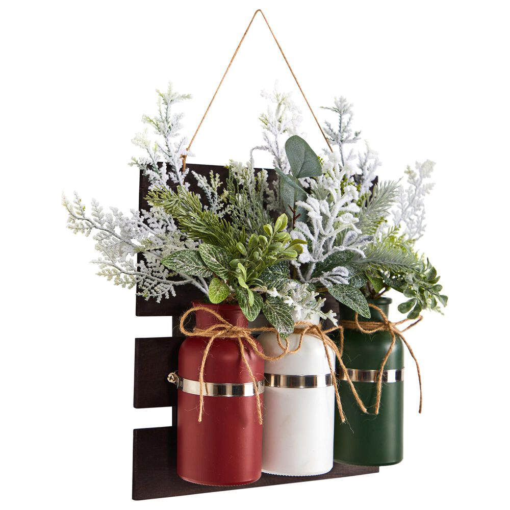 Nearly Natural Inc 17in. Holiday Assorted Christmas Pine Hanging Three Piece Mason Jar Artificial Arrangement Wall Art Decor, , large