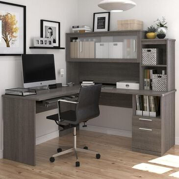 Bestar Dayton L-Shaped Desk In Bark Gray, , large