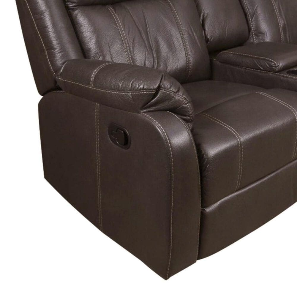 Klaussner Domino Reclining Loveseat with Console in Valor Chocolate, , large