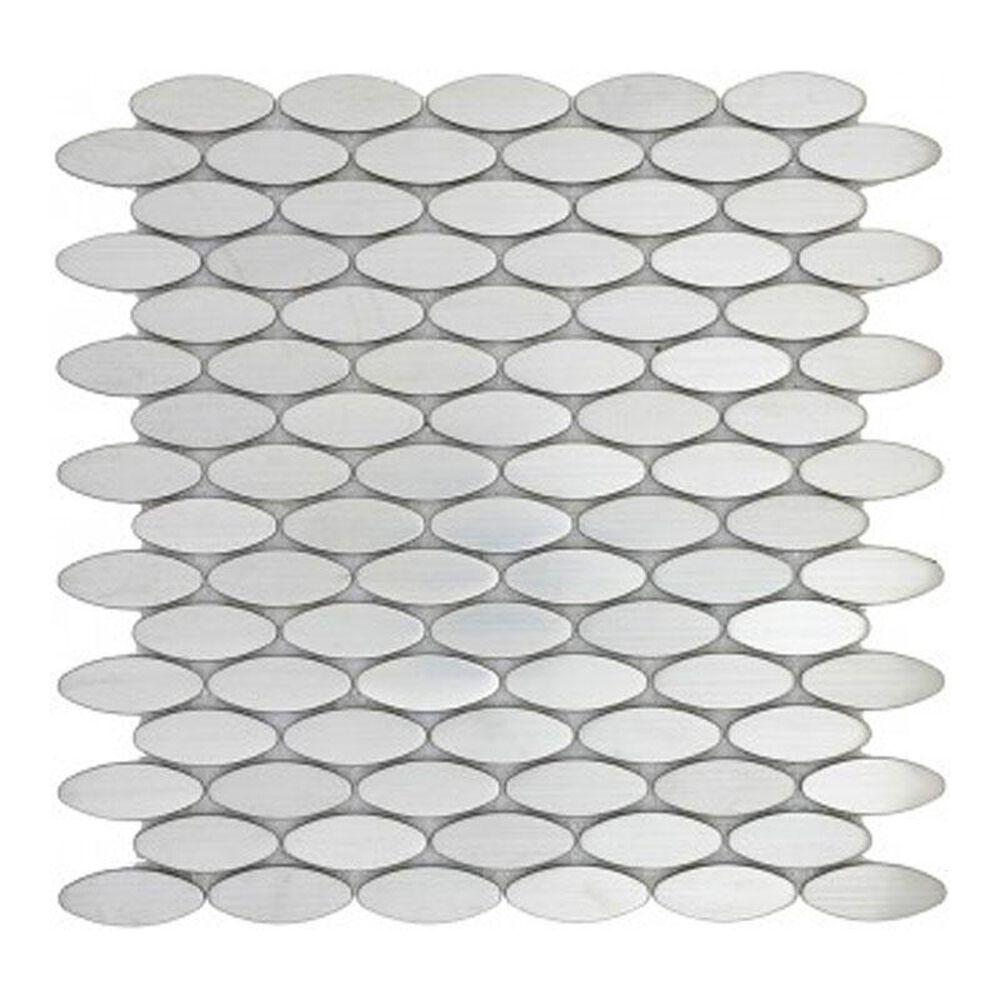 "Emser Gleam Silver 12"" x 12"" Metal Mosaic Sheet, , large"