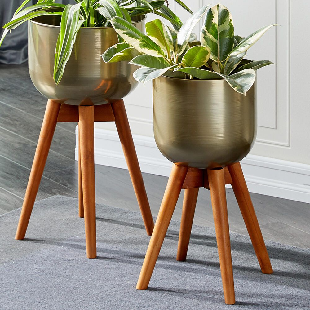 Maple and Jade Modern Metal Planter Gold Set of 2, , large