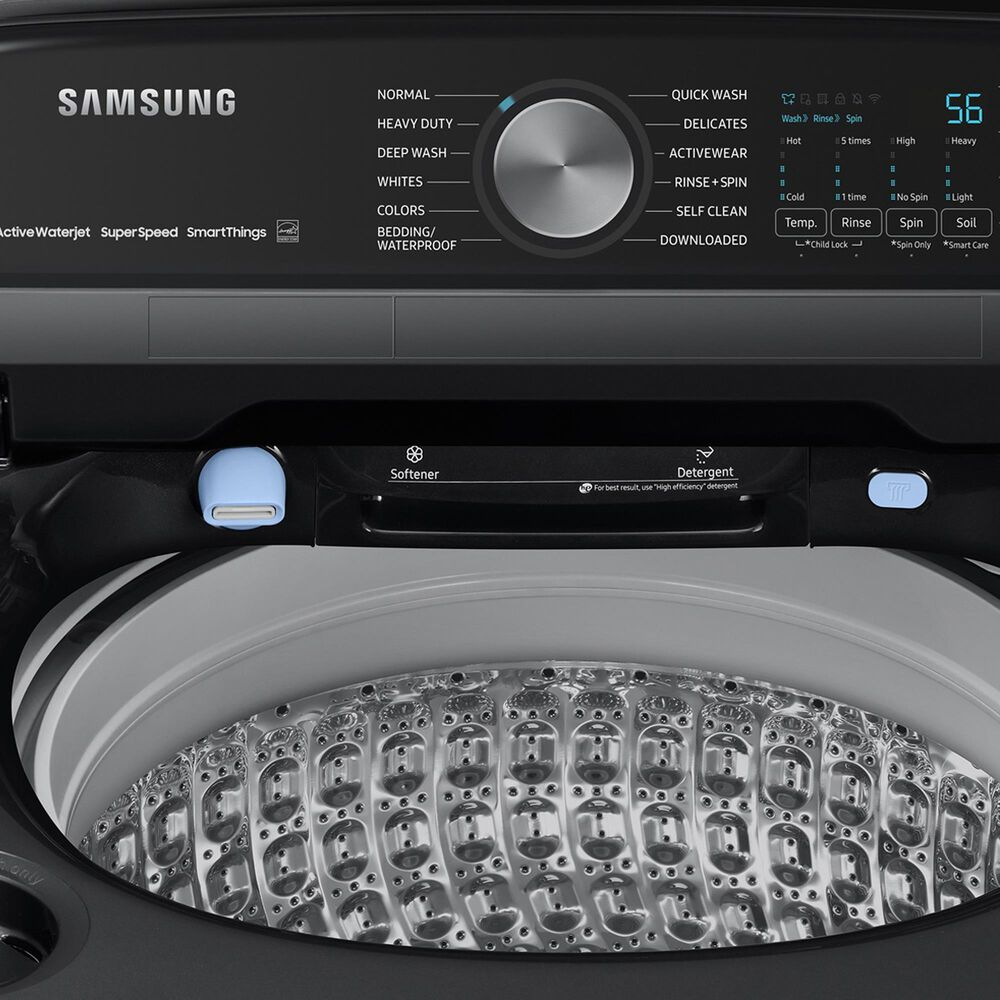 Samsung 5.1 Cu. Ft. Smart Top Load Agitator Washer and 7.4 Cu. Ft. Electric Dryer in Brushed Black, , large