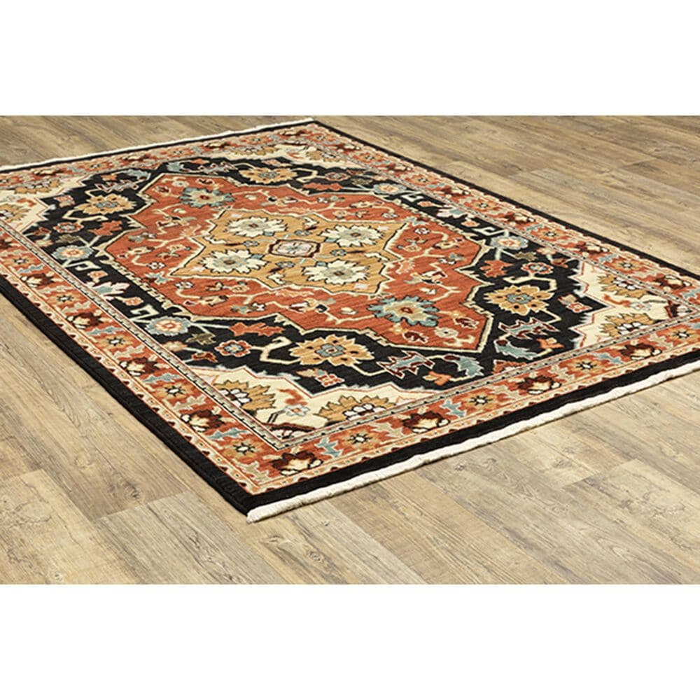 """Oriental Weavers Lilihan Medallion 4929A 3'3"""" x 5' Black and Red Area Rug, , large"""