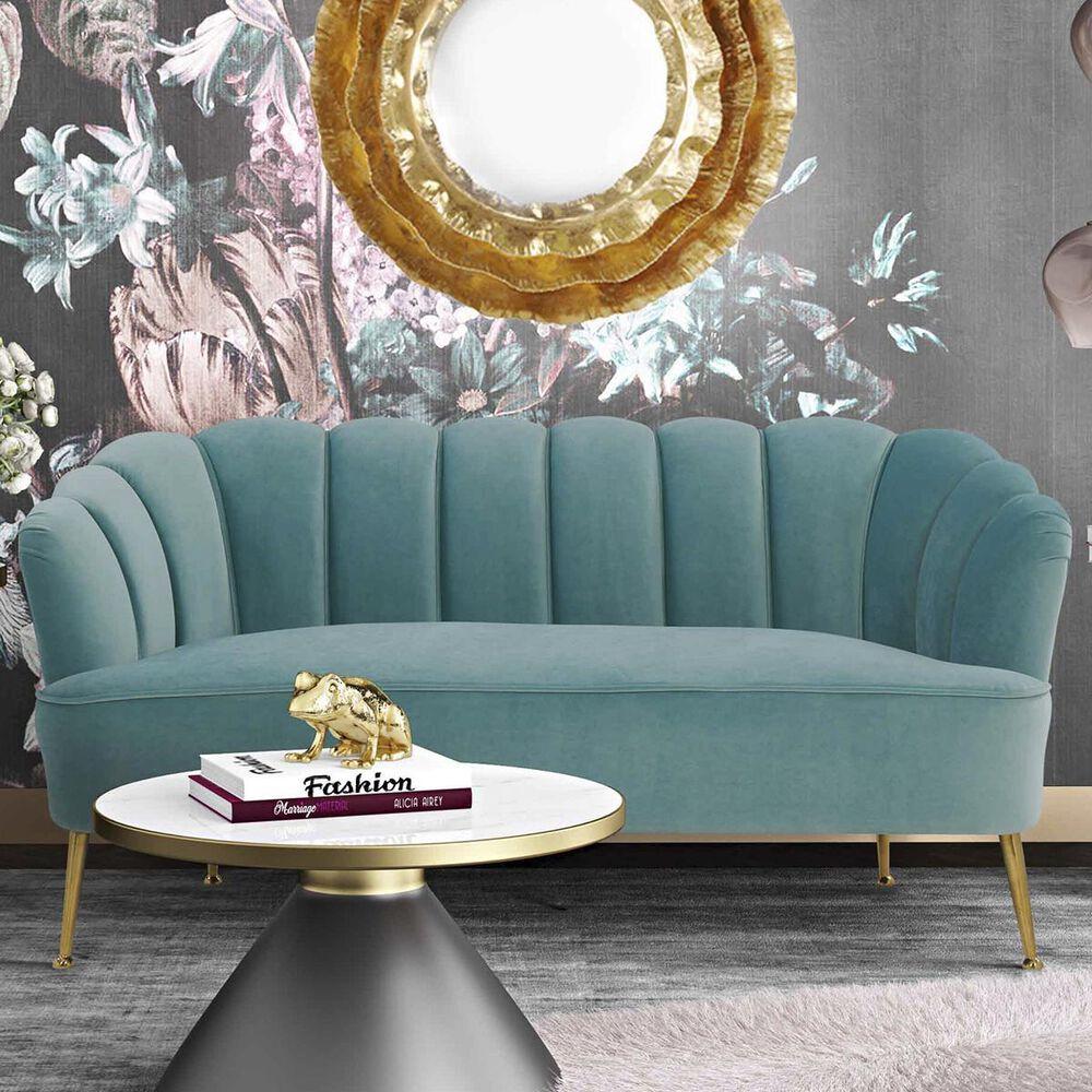 Tov Furniture Daisy Settee in Sea Blue Velvet, , large