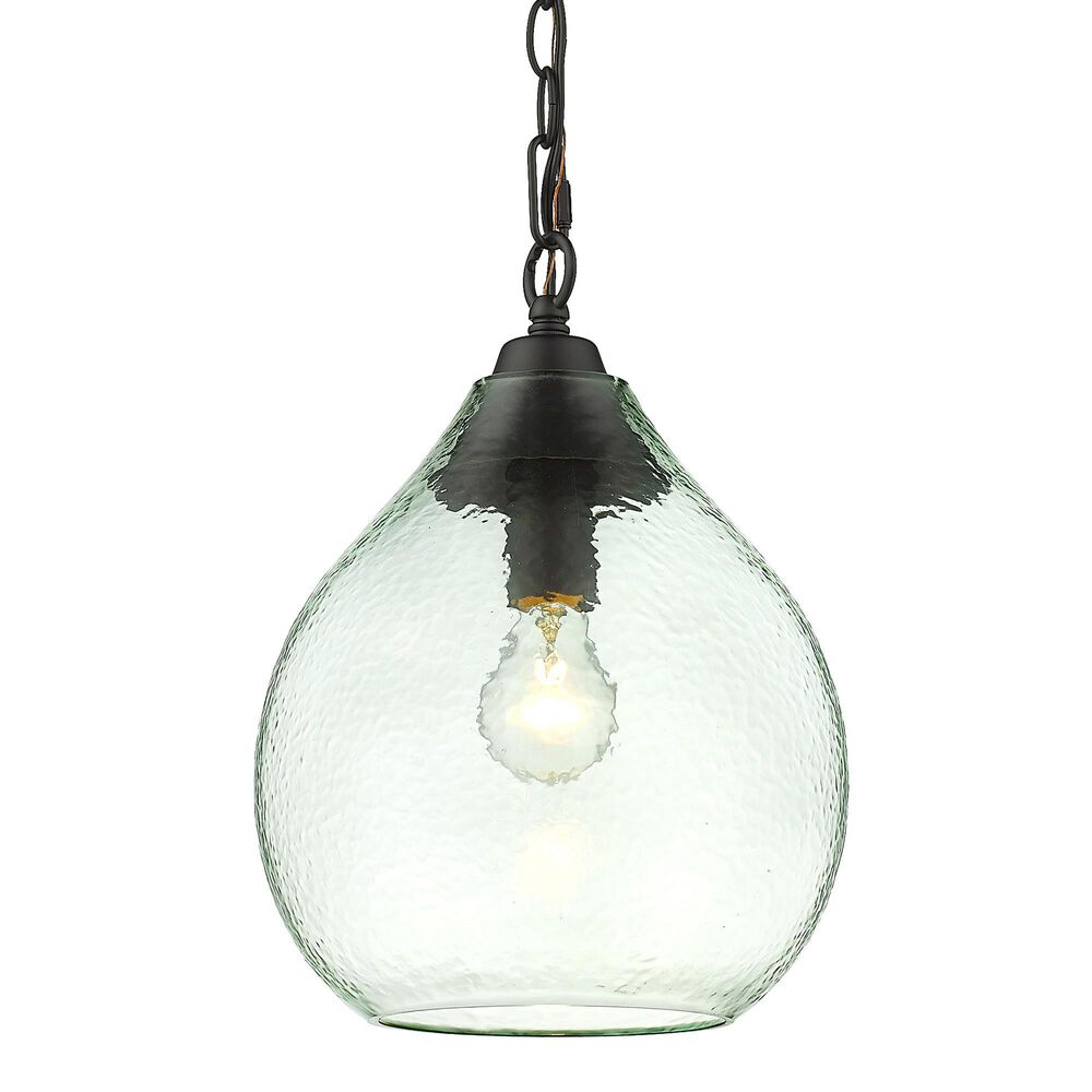 Golden Lighting Ariella Small Pendant in Matte Black with Seafoam Hammered Glass, , large