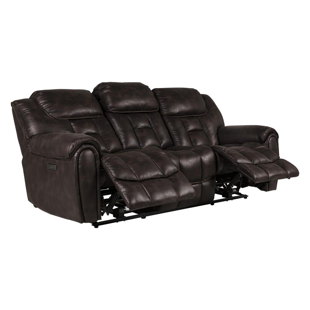 Oxford Furniture Cheers Power Reclining Sofa with Power Headrest in Cowboy Dark Brown, , large