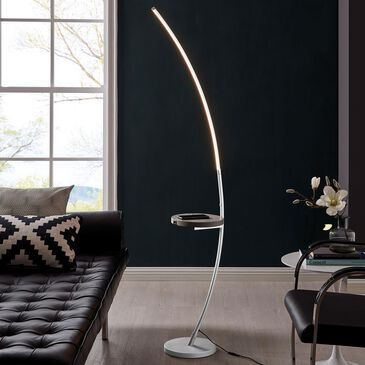 Lite Source Monita Led Floor Lamp with Desk in Silver, , large