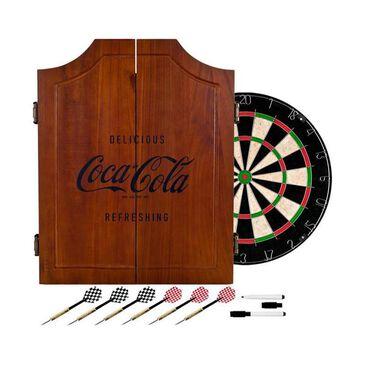 Timberlake Coca-Cola Engraved Logo Wood Dart Cabinet Set, , large
