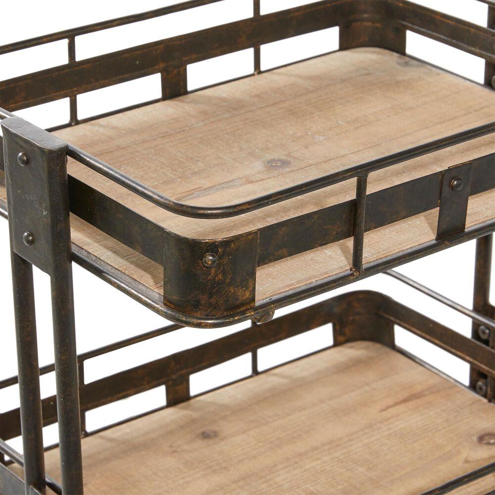 "Maple and Jade Maple and Jade 28"" Industrial Metal Storage Cart Brown, , large"