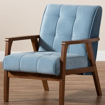 Baxton Studio Asta Arm Chair in Light Blue/Walnut, , large