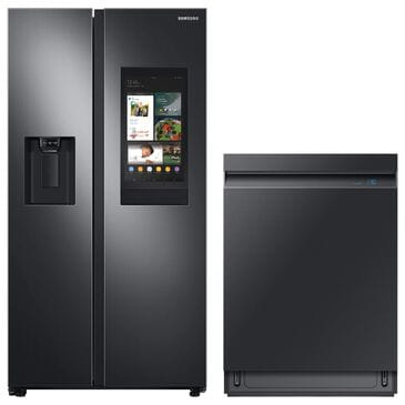 Samsung 2-Piece Kitchen Package with 22 Cu. Ft. Side-By-Side Refrigerator and Linear Wash Dishwasher in Black Stainless Steel, , large