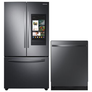 Samsung 2-Piece Kitchen Package with 27.7 Cu. Ft. French Door Refrigerator and Top Control Dishwasher in Black Stainless Steel, , large