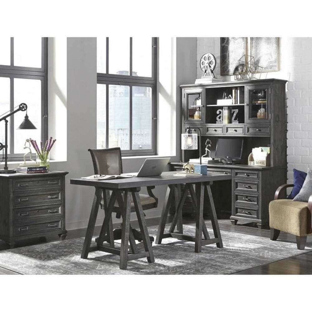 Nicolette Home Sutton Place Credenza with Hutch in Weathered Charcoal, , large