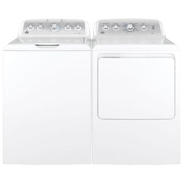 GE Appliances 4.6 Cu. Ft. Top Load Capacity Washer and a 7.2 Cu. Ft. Electric Dryer with HE Sensor Dry in White, , large