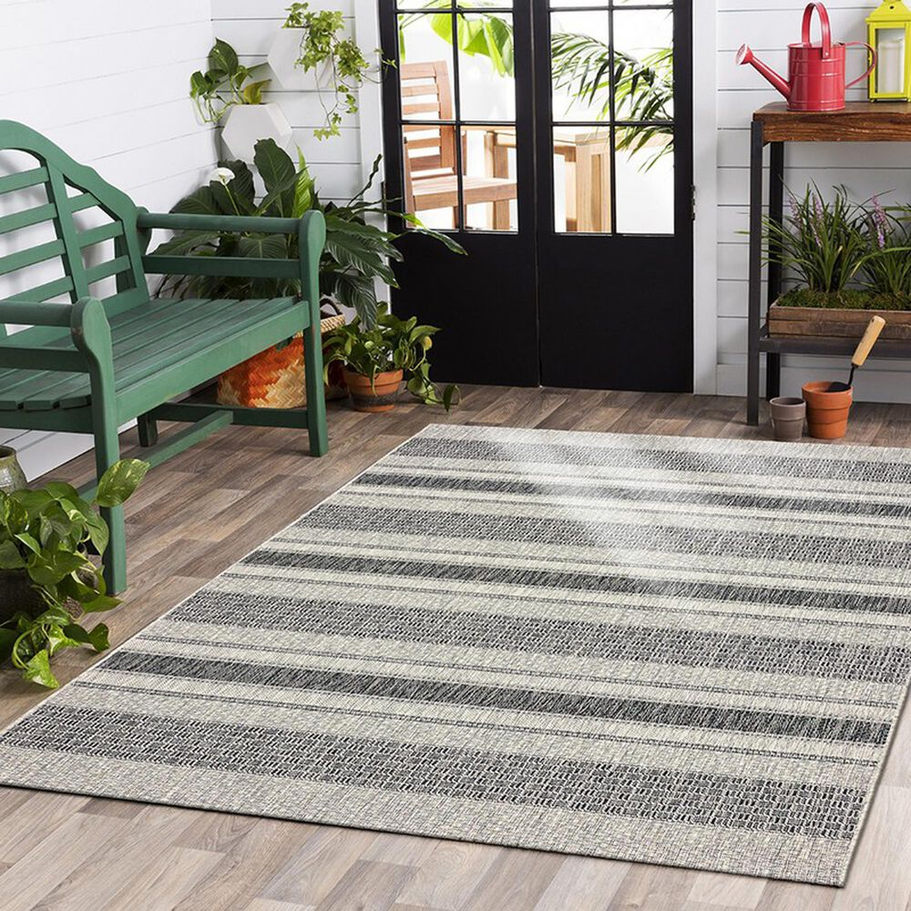 L&R Resources Sun Shower 8' x 10' Gray and Black Indoor/Outdoor Area Rug, , large