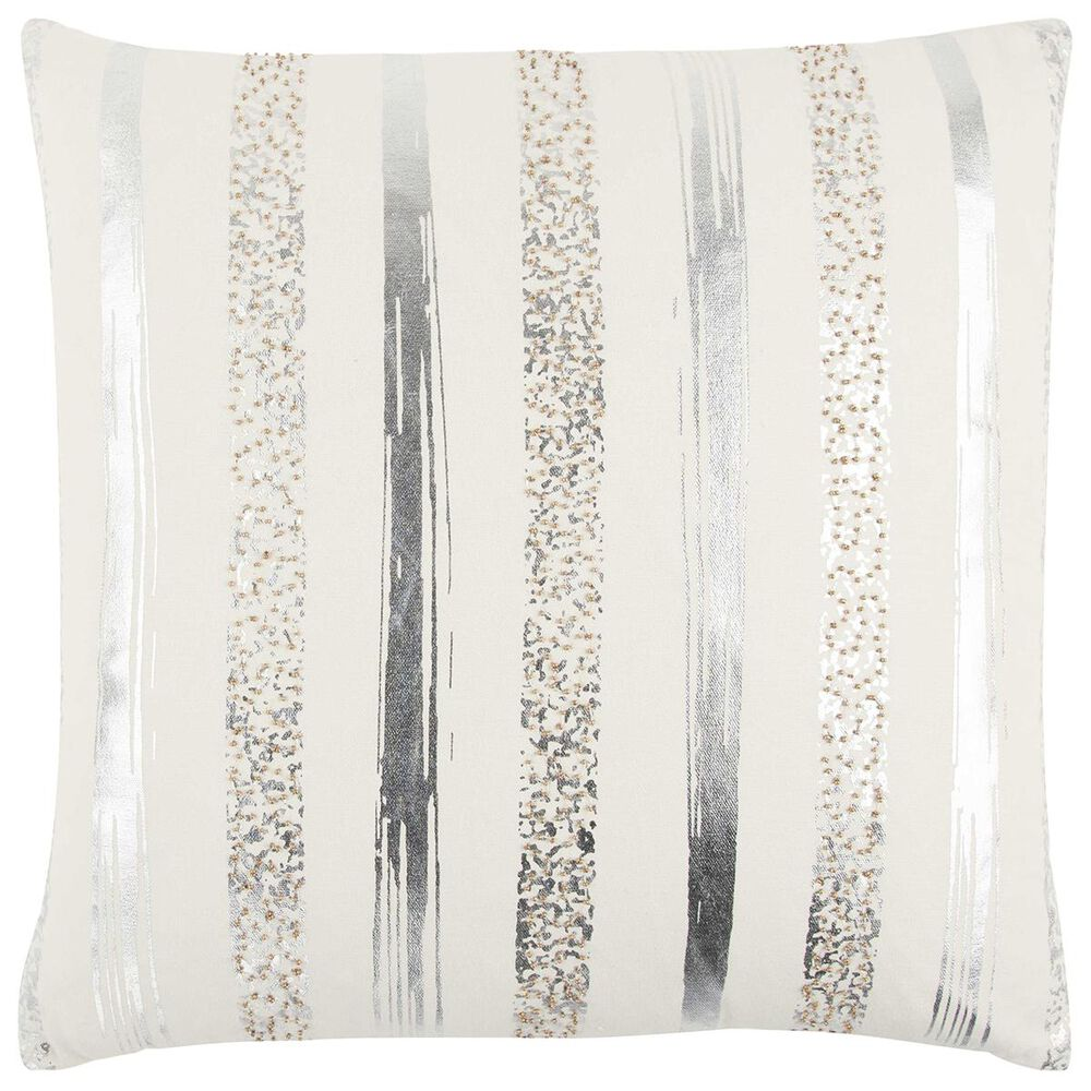 """Rizzy Home 20"""" x 20"""" Pillow Cover in Cream with Silver Stripes, , large"""