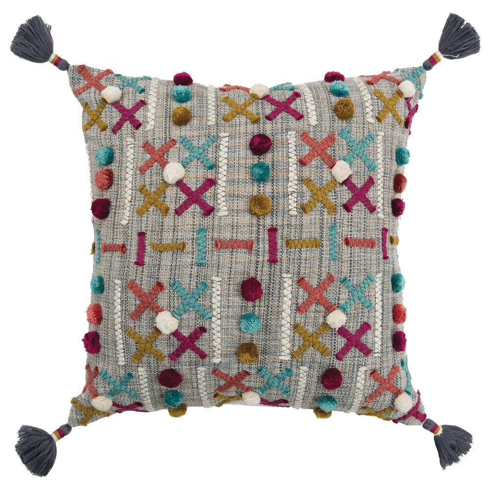 """Rizzy Home Geometric 20"""" Poly Filled Pillow in Teal/ Magenta, , large"""