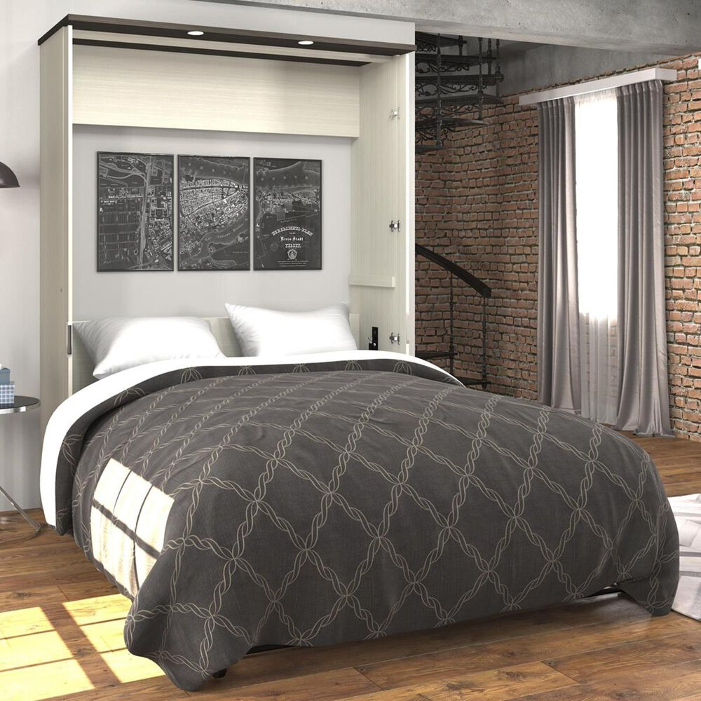 Bestar Lumina Queen Wall Bed in White Chocolate & Dark Chocolate, , large