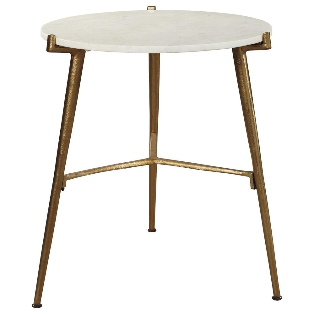 Signature Design by Ashley Chadton Round Accent Table in White Marble and Gold, , large