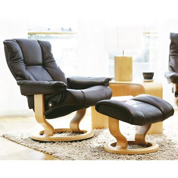Ekornes Mayfair Small Chair and Ottoman in Paloma Black and Natural, , large