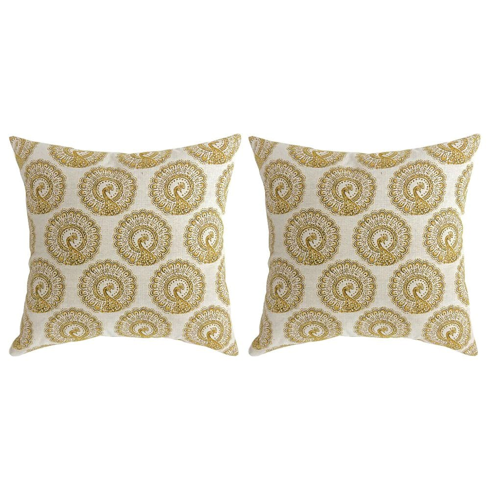 """Furniture of America Massey 22"""" Throw Pillow in Yellow (Set of 2), , large"""