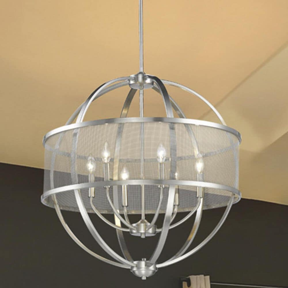 Golden Lighting Colson PW 6-Light Chandelier (with shade) in Pewter, , large