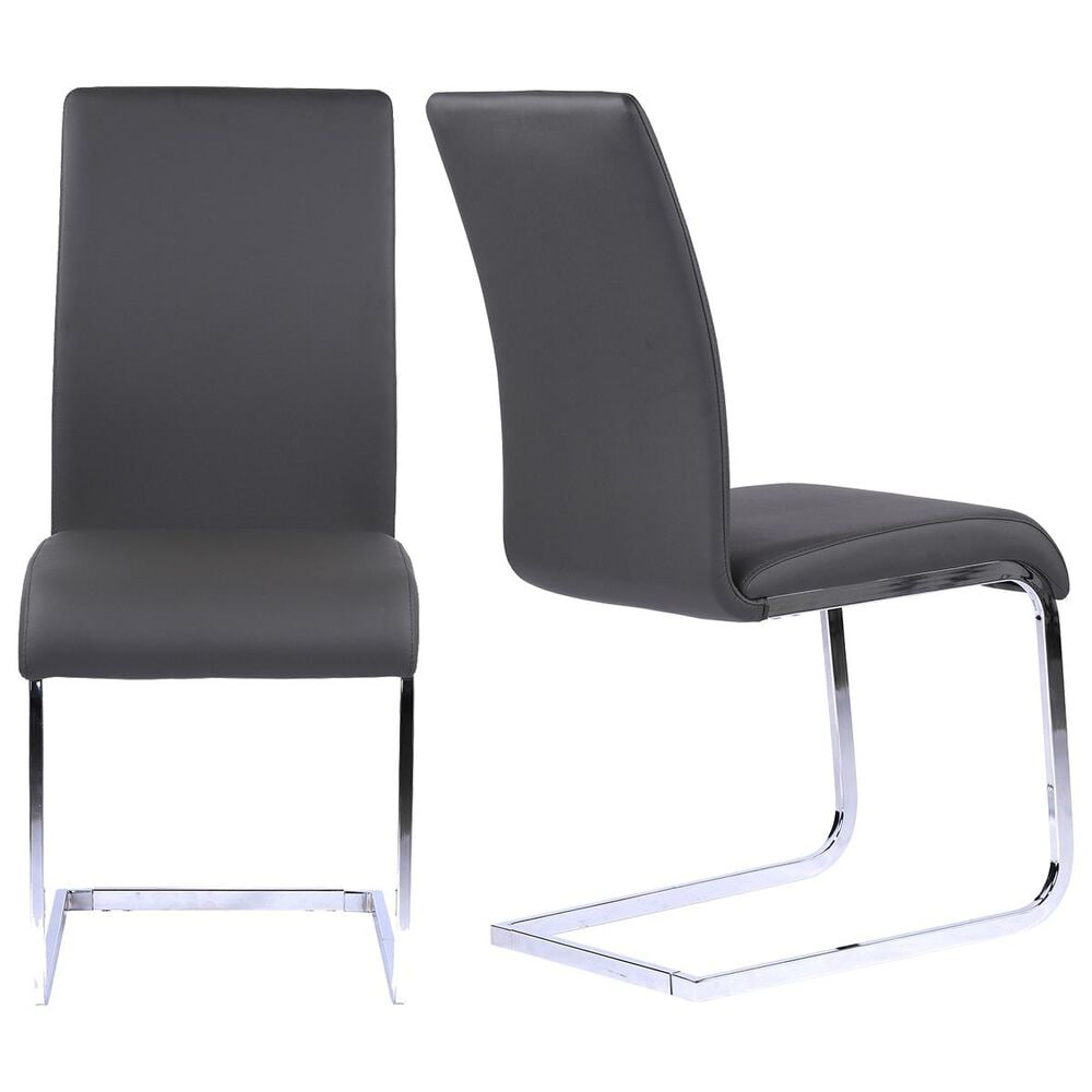 Blue River Amanda Dining Chair in Gray and Chrome (Set of 2), , large