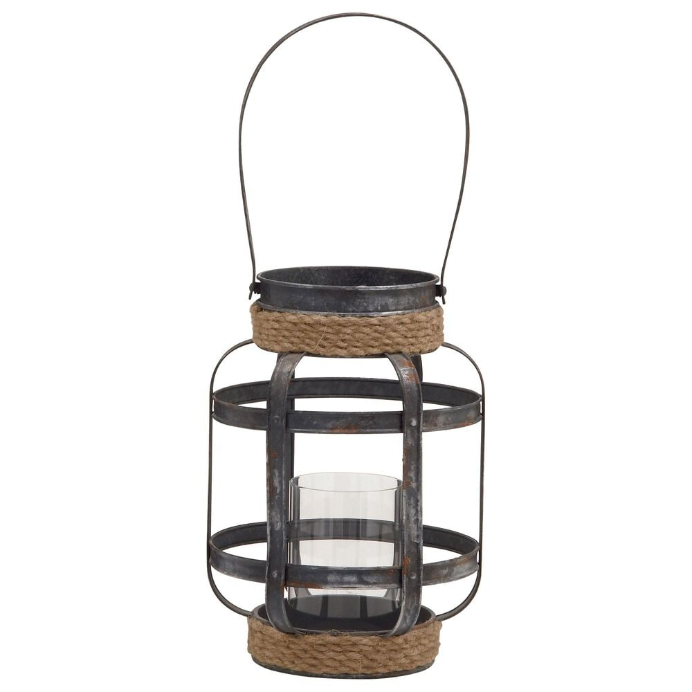 """Maple and Jade 13"""" x 9"""" Candle Lantern in Grey, , large"""