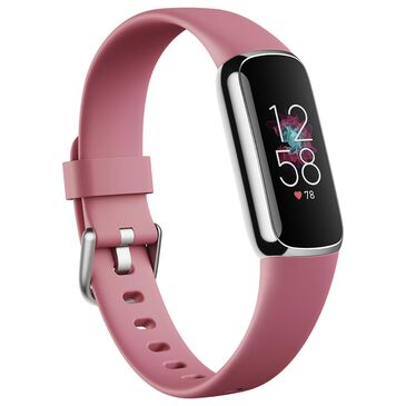 Fitbit Luxe Tracker with Orchid Band in Platinum Stainless Steel, , large