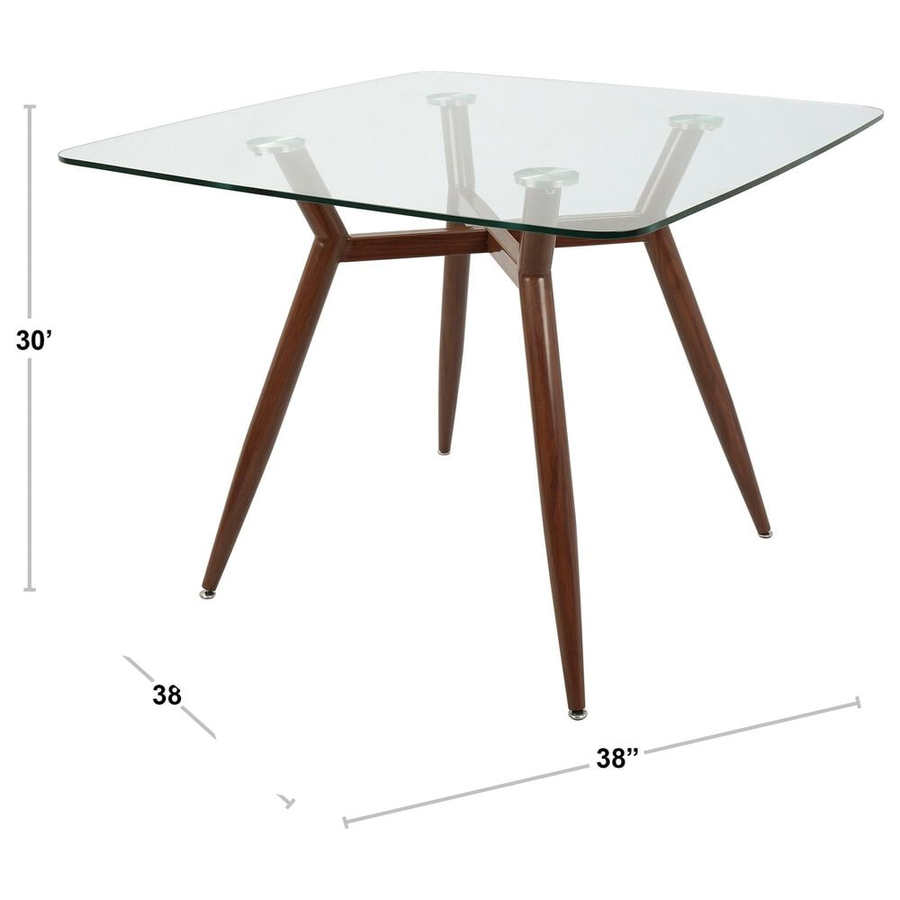 Lumisource Clara Dining Table in Clear/Walnut, , large