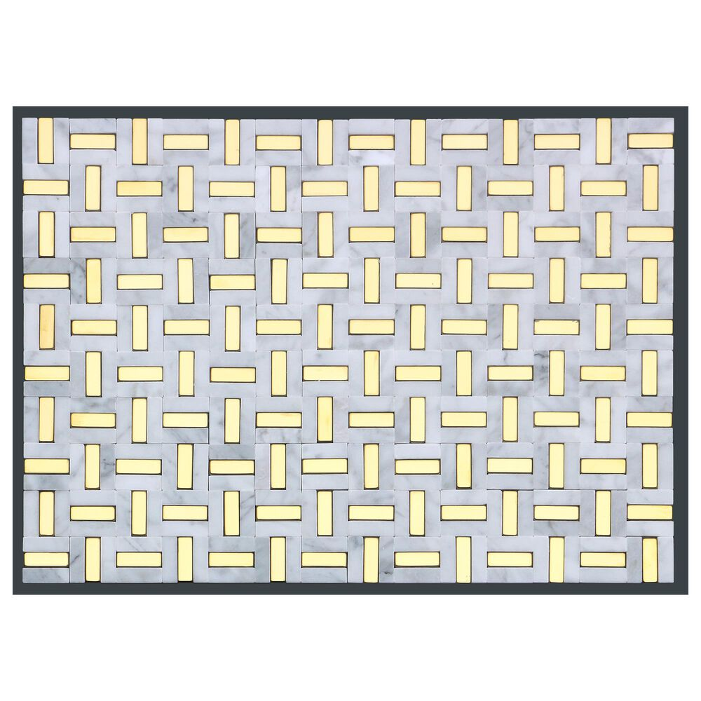 "Emser Link White and Gold 12"" x 17"" Marble Mosaic Sheet, , large"