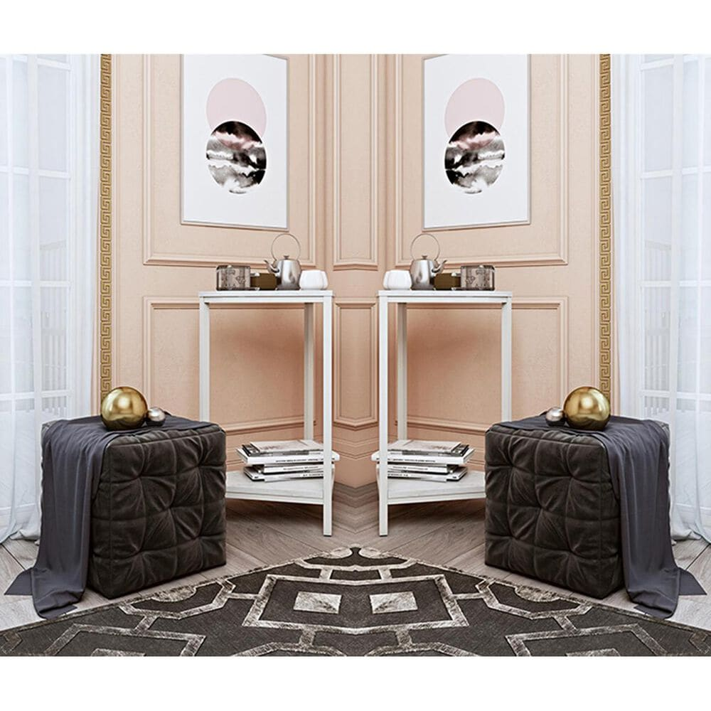 CosmoLiving by Cosmopolitan CosmoLiving Scarlett End Table Set in White Marble, , large