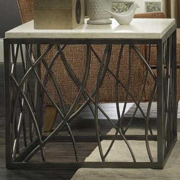 Hooker Furniture End Table with White Marble Top in Steel, , large