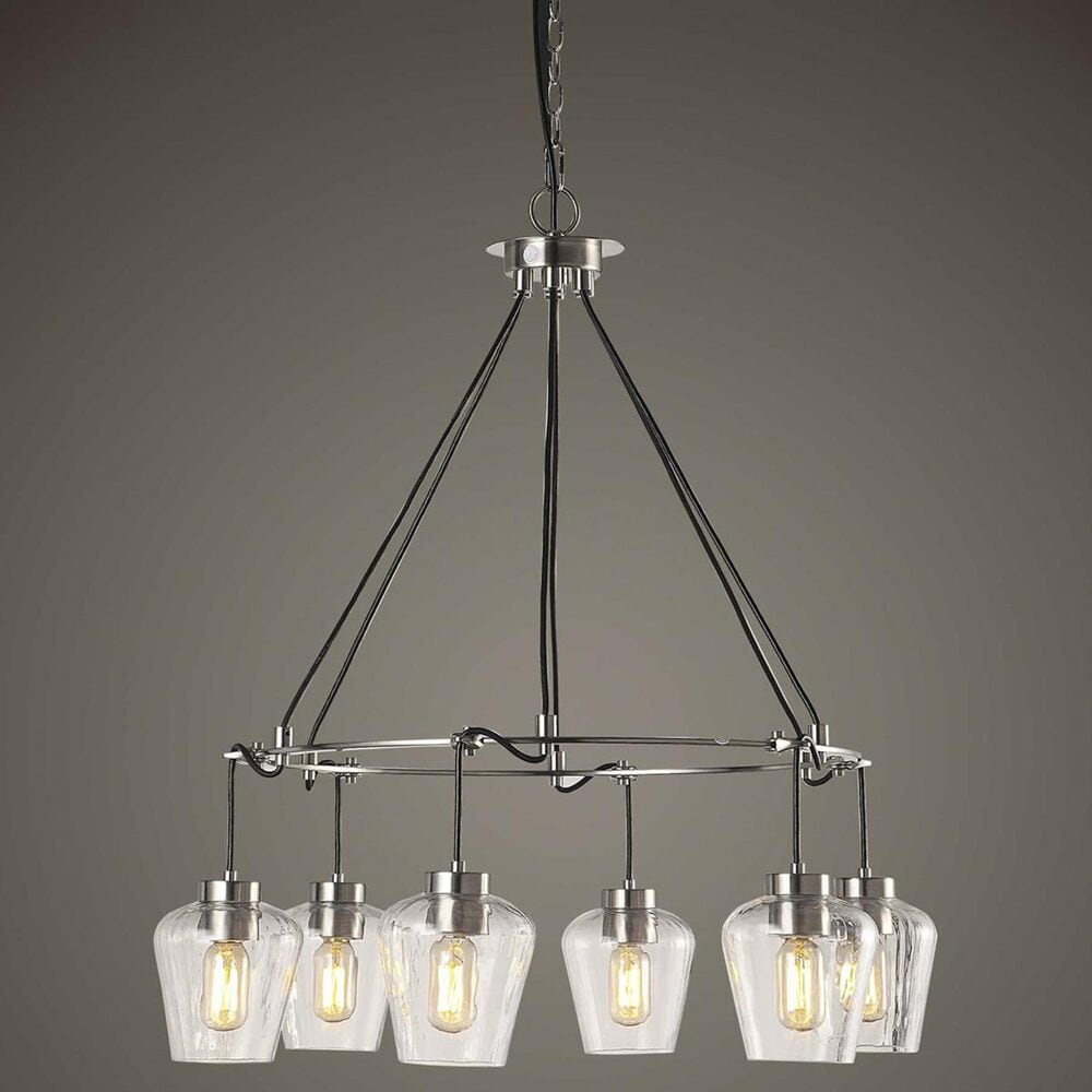 Uttermost Akron 6 Light Pendant in Brushed Nickel, , large