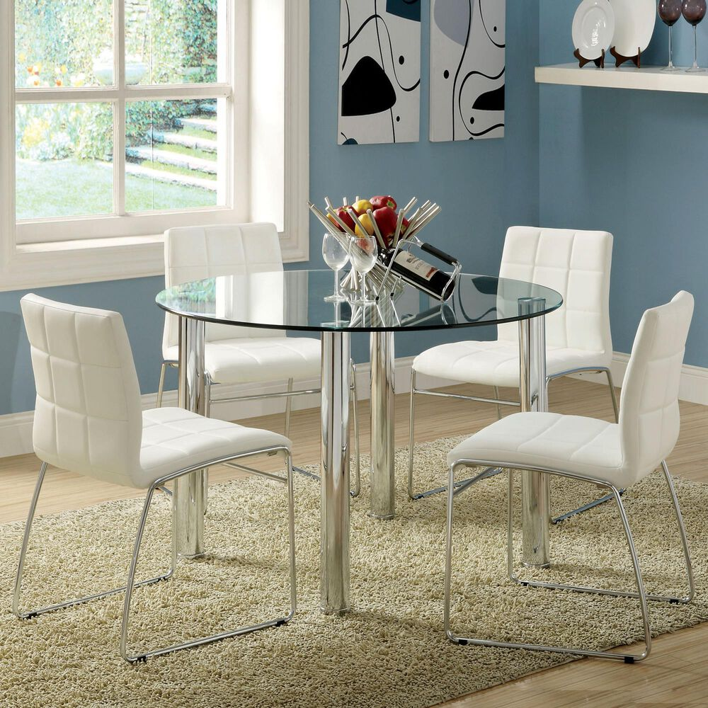 Furniture of America Reeves 5-Piece Dining Set in White, , large