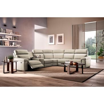 Natuzzi Editions Giulivo 6-Piece Leather Sectional in Tan Greige, , large