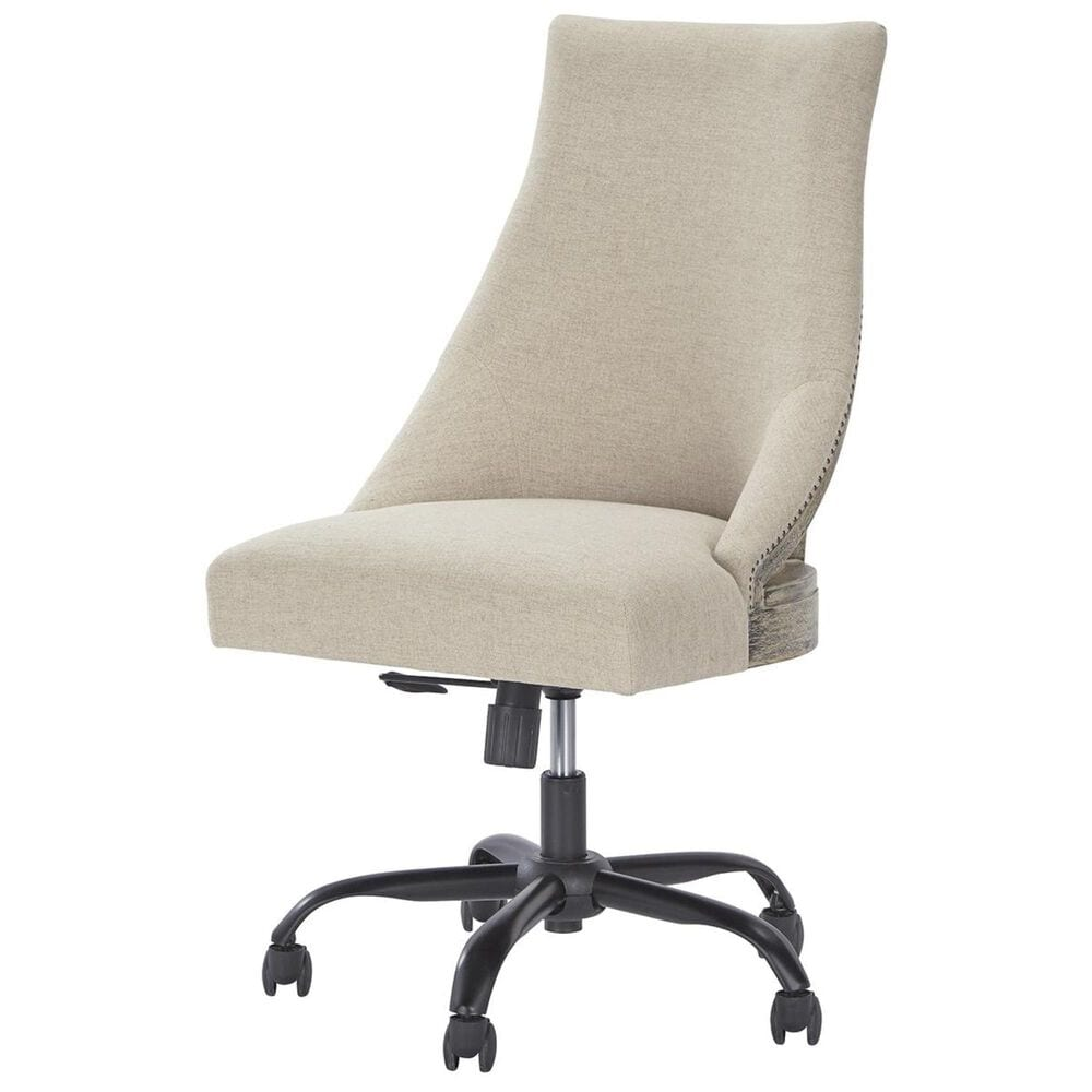 Signature Design by Ashley Swivel Desk Chair with Linen Cushion in Brown, , large