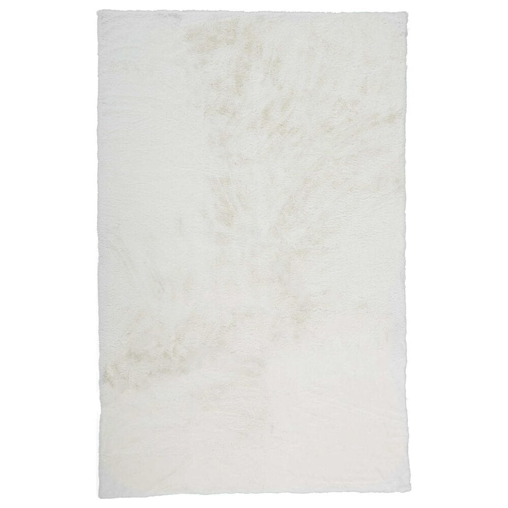 Feizy Rugs Luxe Velour 3' x 5' White Area Rug, , large