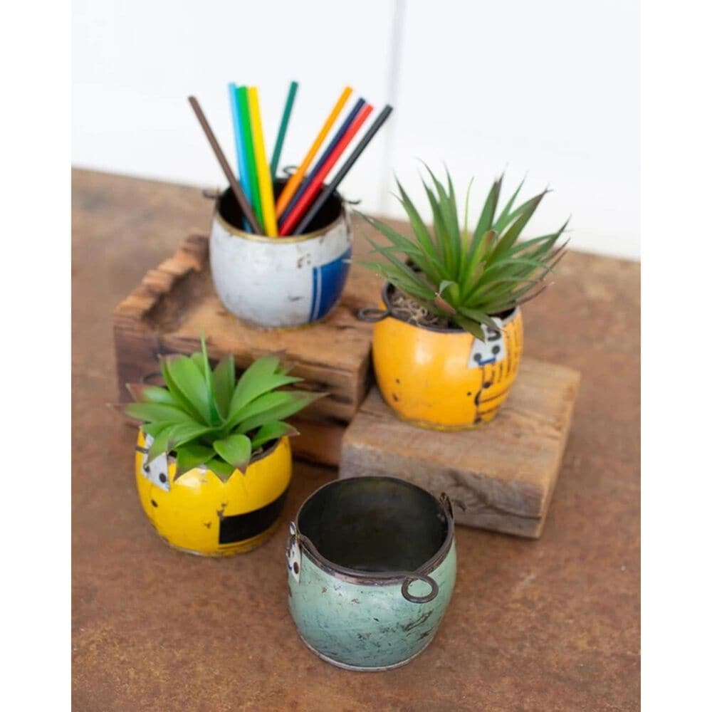 Kalalou Assorted Recycled Metal Pots Set of 4, , large