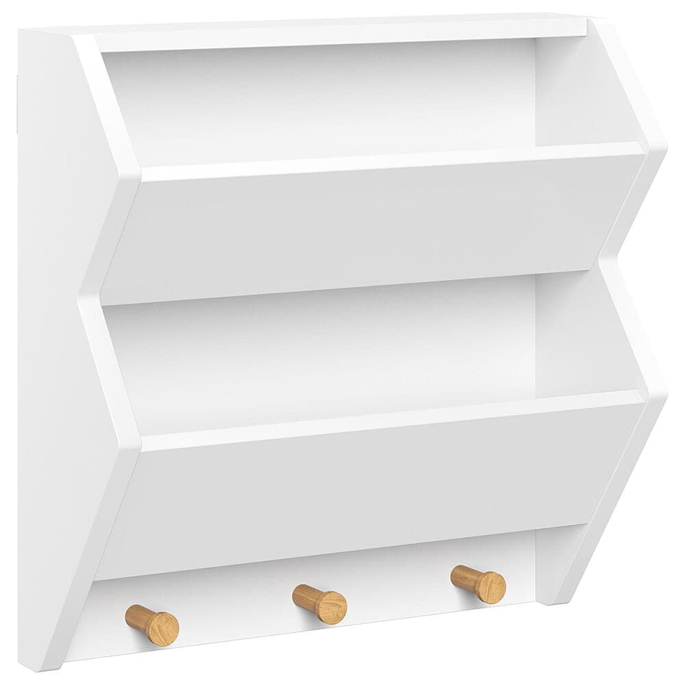 RiverRidge Home Catch-All Wall Shelf with 3 Hooks in White, , large
